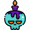 burning, candle, candles, fire, flame, halloween, skull icon