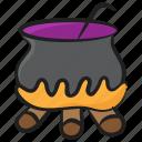 caldron, cooking pot, halloween pot, magic poison, vintage cauldron icon