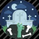 bone, dead, grave, graveyard, green, halloween, hand icon