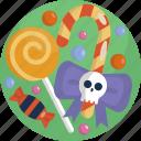bow, halloween, orange, skull, sweet, treat, yellow icon