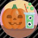 carved, creepy, drink, eyes, halloween, pumpkin, slime icon