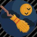 bats, broom, full, halloween, moon, night, witch icon