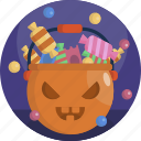 basket, carved, halloween, pumpkin, tradition, treat, trick icon
