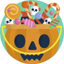 trick, treat, sweet, halloween, tradition, candy, basket icon