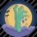 awake, dead, full, grave, halloween, hand, moon icon