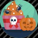 food, halloween, party, pumpkin, skull, spider, treat icon