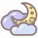 moon, night, cloud, clouds, crescent icon