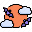 bat, cloud, full moon, halloween, horror, scary, spooky