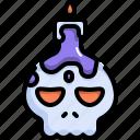 candle, halloween, horror, light, scary, skull, spooky