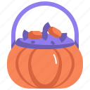 scary, halloween, basket, sweets, horror, spooky, candy icon