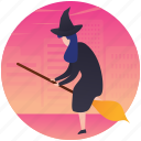 halloween witch, scary witch, witch, witch character, witch with broom icon