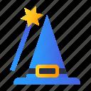 hat, magic, stick, witch icon