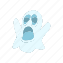 cartoon, fun, ghost, halloween, holiday, spooky, white icon