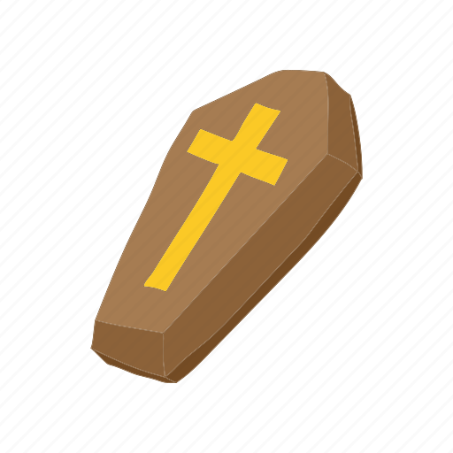 cartoon, coffin, cross, dead, element, fear, grave icon