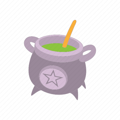 cartoon vector, cauldron, cooking, horror, old, witchcraft icon