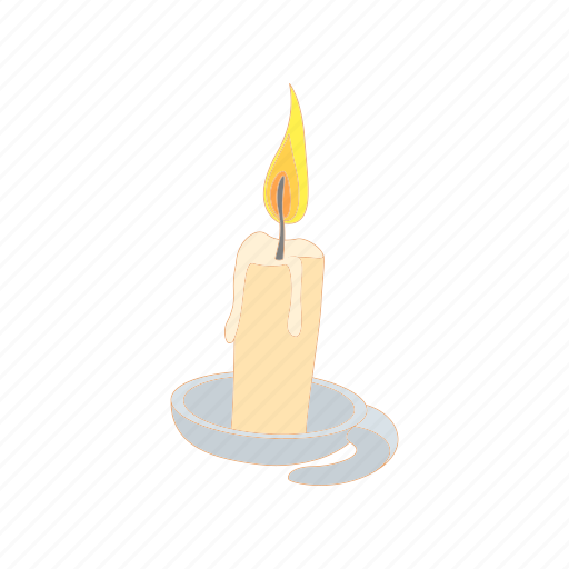 candle, cartoon, decoration, fire, flame, light, wax icon