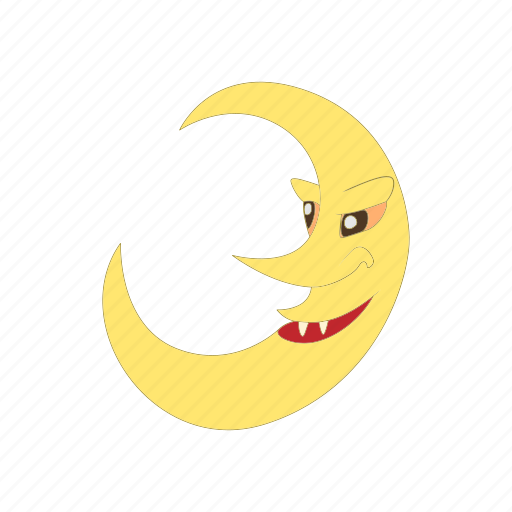cartoon, crescent, halloween, moon, night, sky, star icon