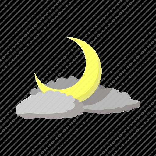 cartoon, cloud, crescent, dream, light, moon dark, moonlight icon
