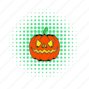 autumn, comics, halloween, lantern, orange, organic, pumpkin icon