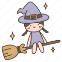 broomstick, cute, doodle, flying, halloween, witch