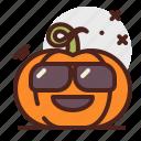 sunglasses, pumpkin, halloween, emoji
