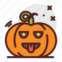 tongue, pumpkin, halloween, emoji