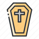 burial, cemetery, coffin, grave, halloween icon