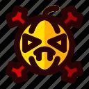 bone, celebration, halloween, holiday, pumpkin, scary, sign icon