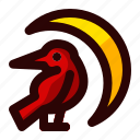 celebration, crow, halloween, holiday, moon, scary, sign icon