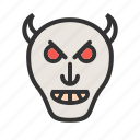 devil, evil, face, horror, monster, skull, zombie icon