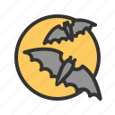 bats, halloween, moon, moonlight, night, scary, sky icon