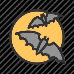 bats, halloween, moon, moonlight, night, scary, sky icon