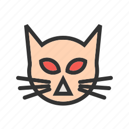 animal, cartoon, cat, face, halloween icon