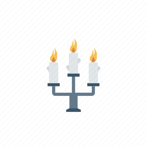 candelabra, candles, flames, light icon