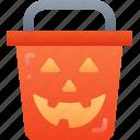 trick or treat, bucket, halloween, candy, evil, sweet