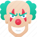 clown, evil, halloween, jester, laugh icon