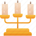 candelabra, candle, evil, flame, halloween icon