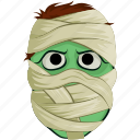 halloween, halloween mask, mummy face, scary, spooky icon