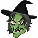 fearful, halloween, spooky, witch face, wizard icon