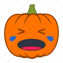 cry, crying, emoji, emotion, halloween, holiday, pumpkin icon