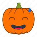 embarrased, emoji, emotion, halloween, holiday, pumpkin, reaction icon