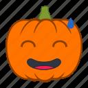 embarrased, emoji, emotion, halloween, holiday, pumpkin, reaction icon