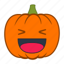 emoji, emotion, halloween, happy, holiday, pumpkin, reaction icon