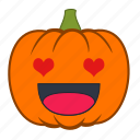 emoji, emotion, halloween, heart, holiday, love, pumpkin icon