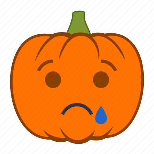 emoji, emotion, halloween, holiday, pumpkin, sad, tear icon