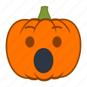 emoji, emotion, halloween, holiday, pumpkin, shock, surprise icon