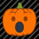emoji, emotion, halloween, holiday, pumpkin, shock, surprise icon