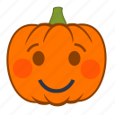 emoji, emotion, halloween, holiday, pumpkin, shy, smile icon