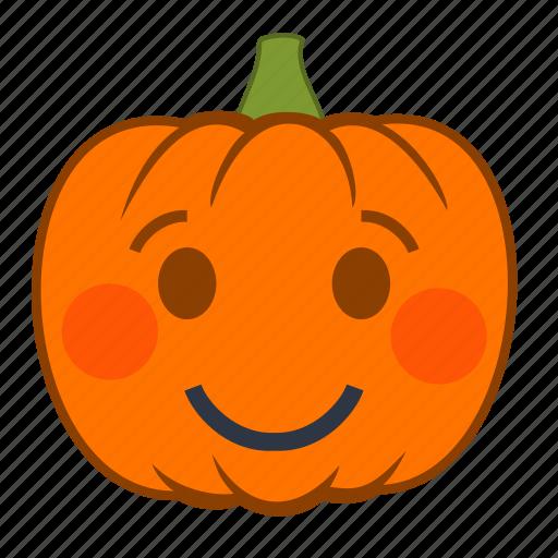 emoji, emotion, halloween, holiday, pumpkin, shy, smile icon