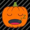emoji, emotion, halloween, holiday, pumpkin, sleepy, snooze icon